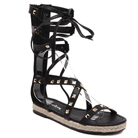 Rome Style Rivet and Lace-Up Design Women's Sandals - BLACK 37