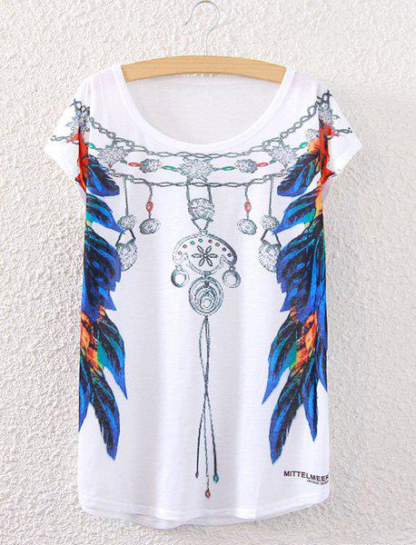 Stylish Women's Short Sleeve Feather Necklace Print T-Shirt - WHITE ONE SIZE(FIT SIZE XS TO M)