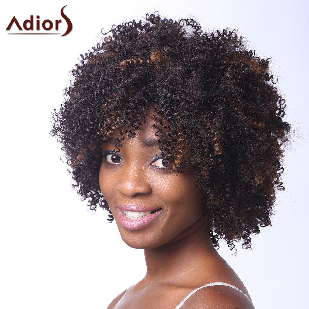 Vogue Brown Highlight Capless Fluffy Afro Curly Short Synthetic Women's Adiors Wig - /