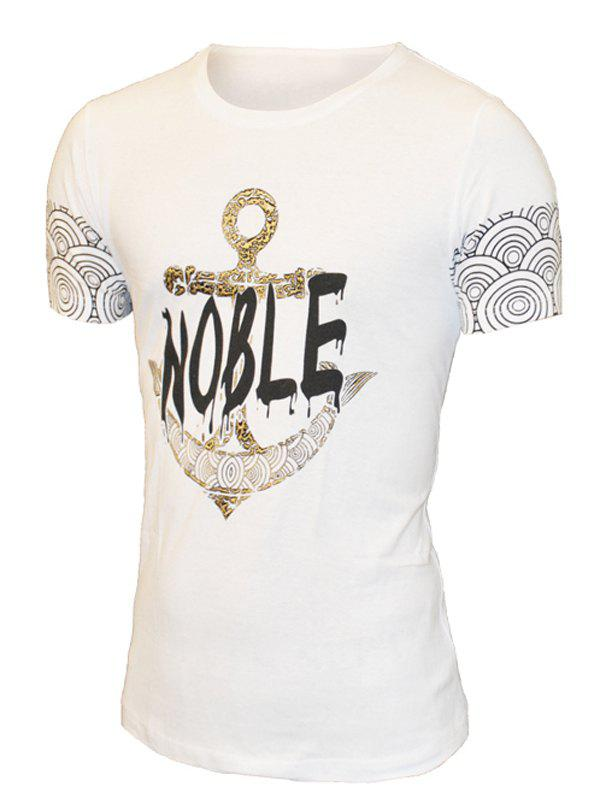 Round Neck Letter and Anchor Print Pattern Short Sleeve Men's T-Shirt - WHITE M