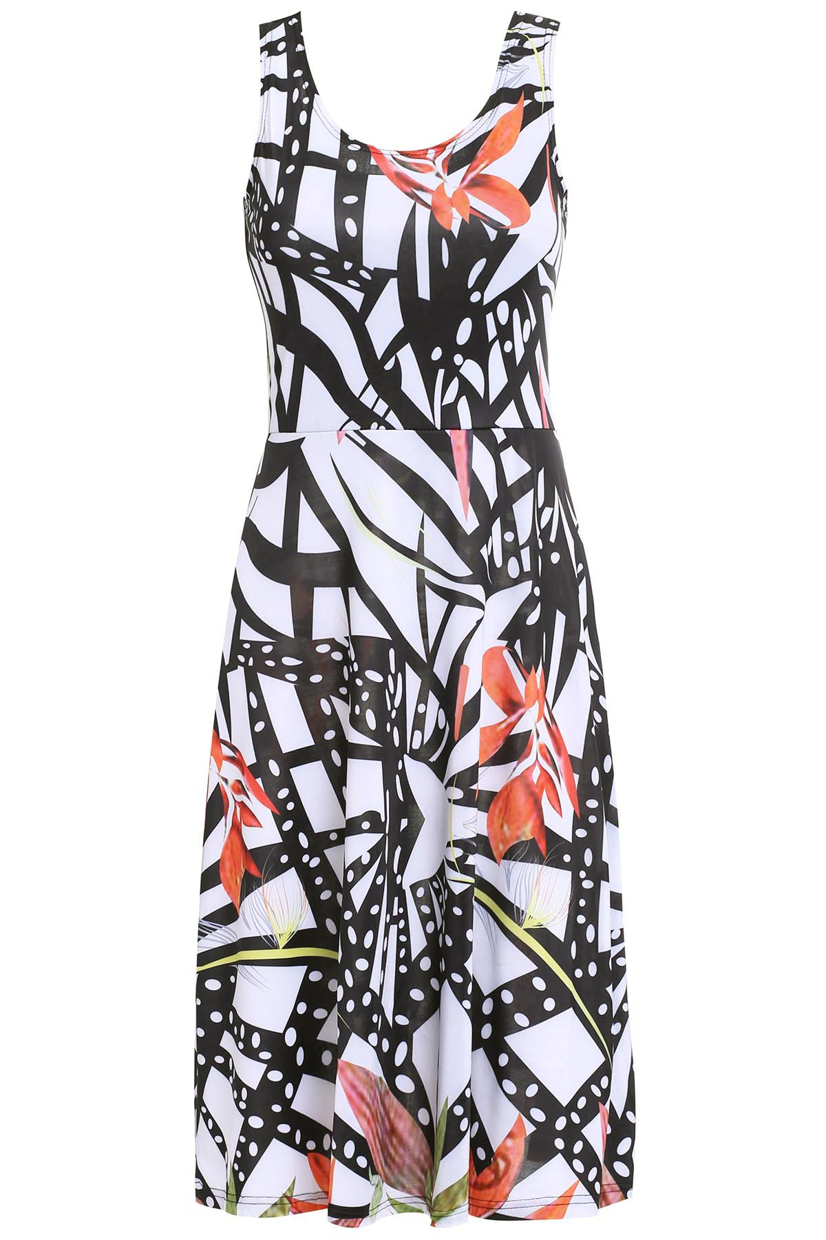 Trendy Scoop Neck Belted Print Tank Dress For Women - COLORMIX L