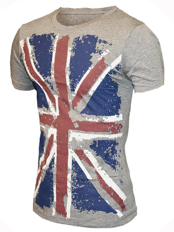 Round Neck Union Flag Print Pattern Short Sleeve Men's T-Shirt - GRAY M