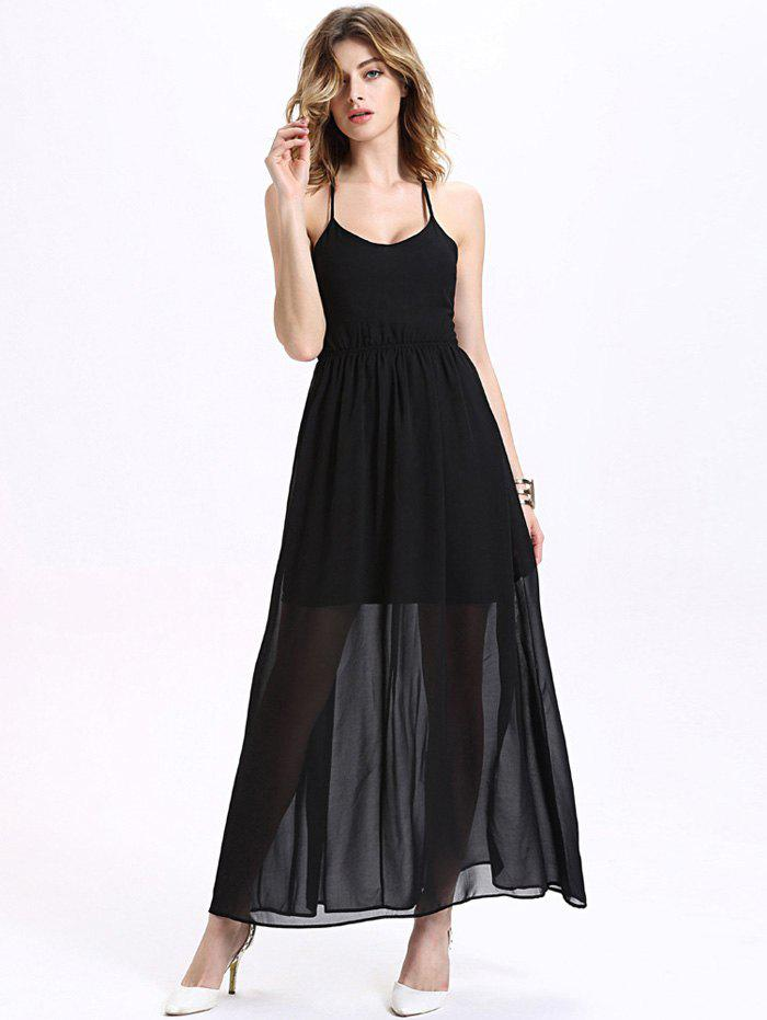 Alluring Halter Criss-Cross A Line Women's Chiffon Maxi Dress - BLACK M