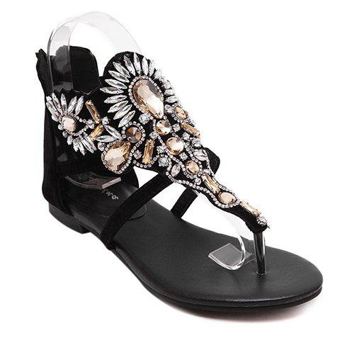 Gorgeous Rhinestone and Black Design Women's Sandals - BLACK 38