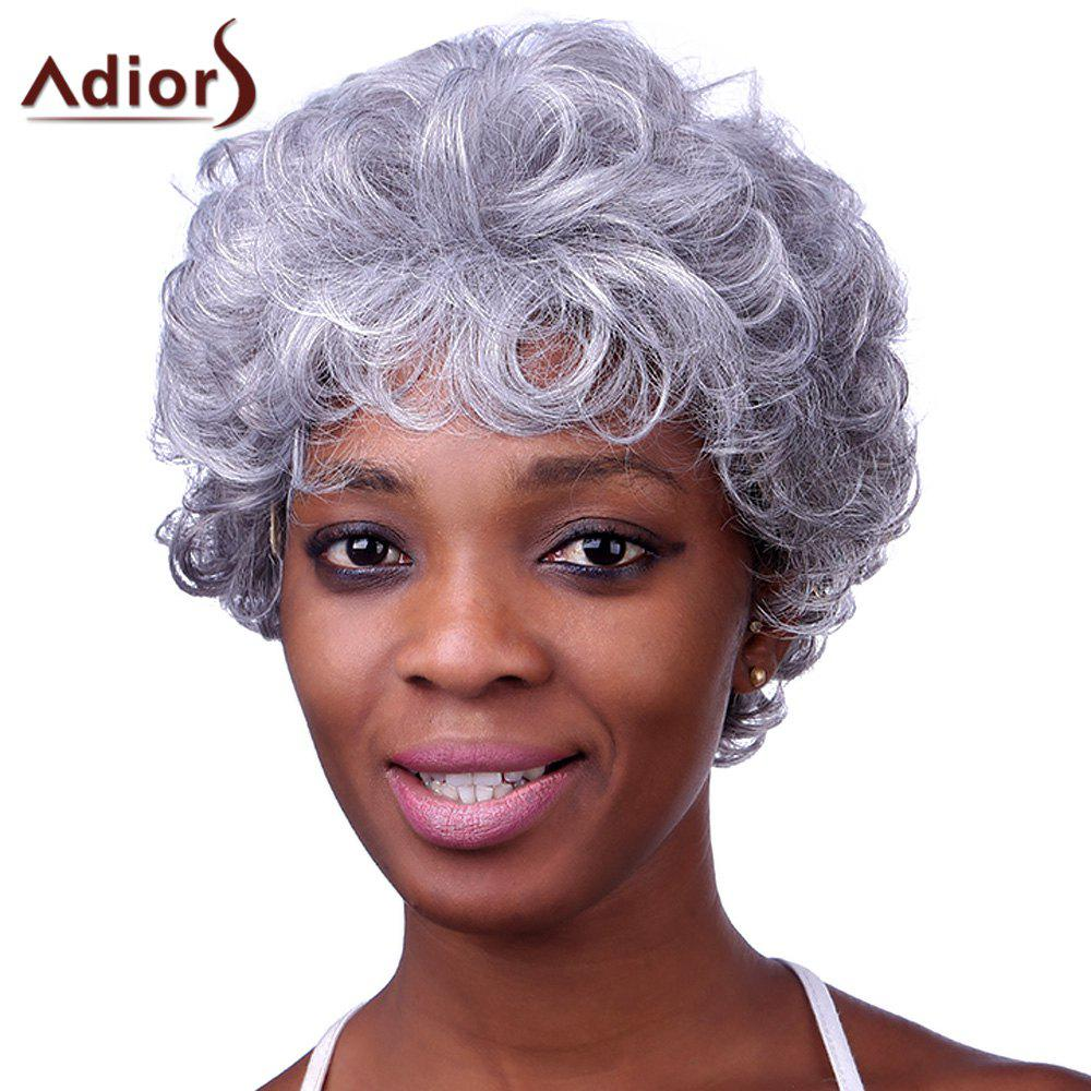 Stylish Silvery Gray Short Capless Fluffy Curly Women's Heat Resistant Synthetic Adiors Wig - COLORMIX
