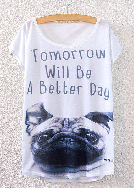 Casual Women's Short Sleeve Dog Pattern Letter Print T-Shirt - WHITE ONE SIZE(FIT SIZE XS TO M)