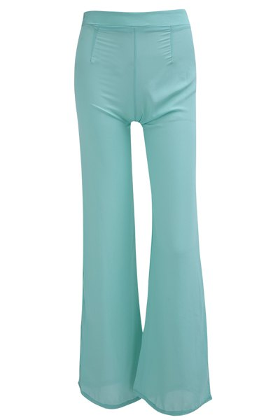 Refreshing High-Waisted Zippered Solid Color Women's Chiffon Pants