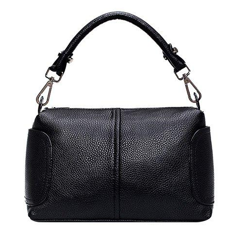 Trendy PU Leather and Solid Colour Design Women's Tote Bag - BLACK