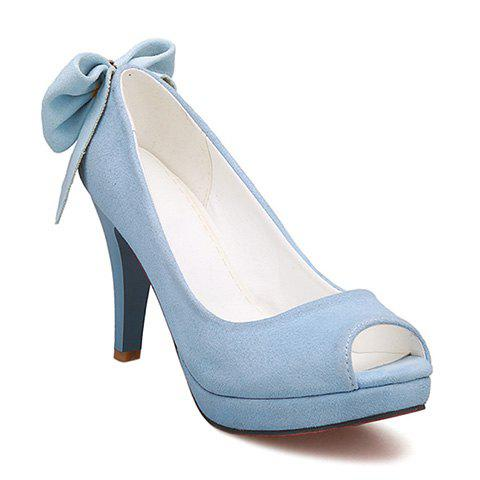 Sweet Bow and Chunky Heel Design Women's Peep Toe Shoes - ICE BLUE 38