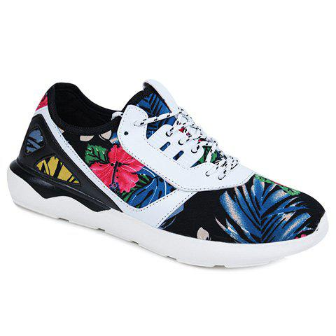 Stylish Floral Print and Splicing Design Men's Athletic Shoes - BLACK 44