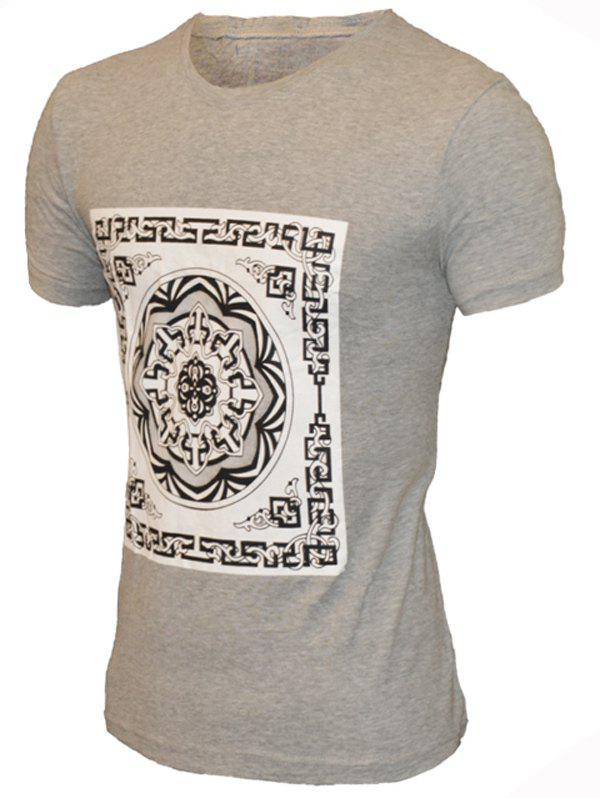 Round Neck Geometric Flower Pattern Short Sleeve Men's T-Shirt - GRAY L