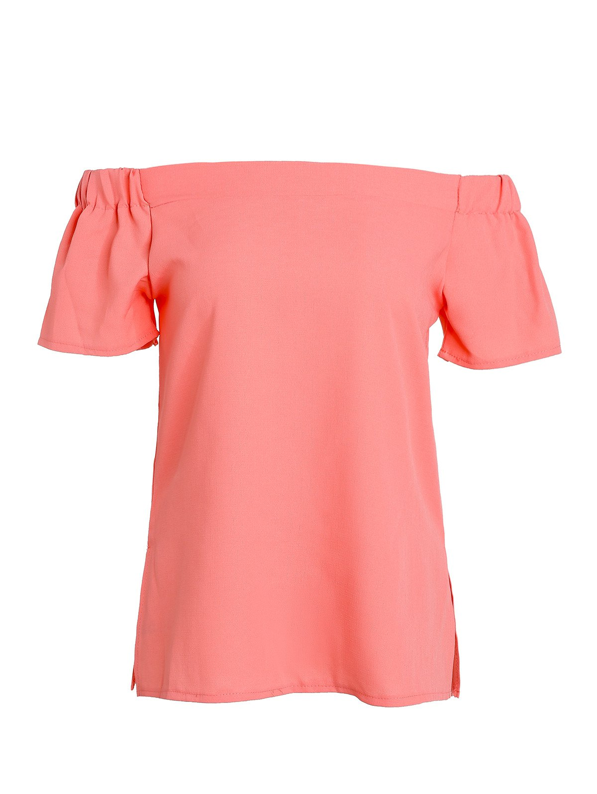 Fashionable Off The Shoulder Short Sleeve Solid Color Blouse For Women - ORANGE L