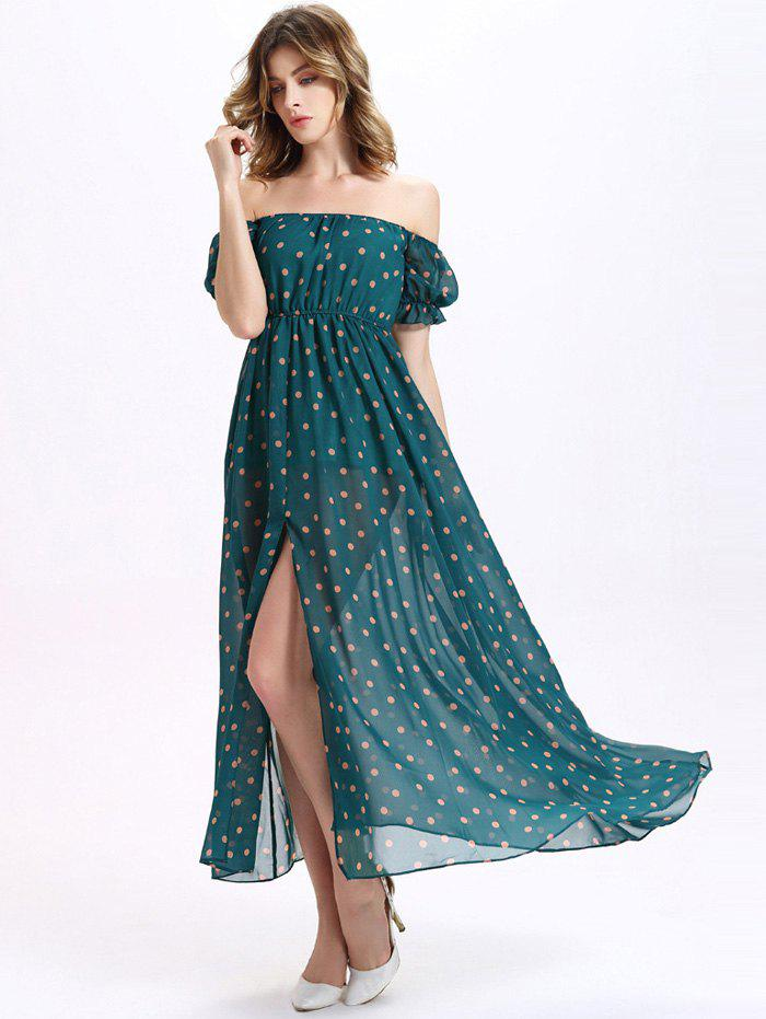 Sweet Off-The-Shoulder Puff Sleeve Polka Dot Print Women's Maxi Chiffon Dress - GREEN XL