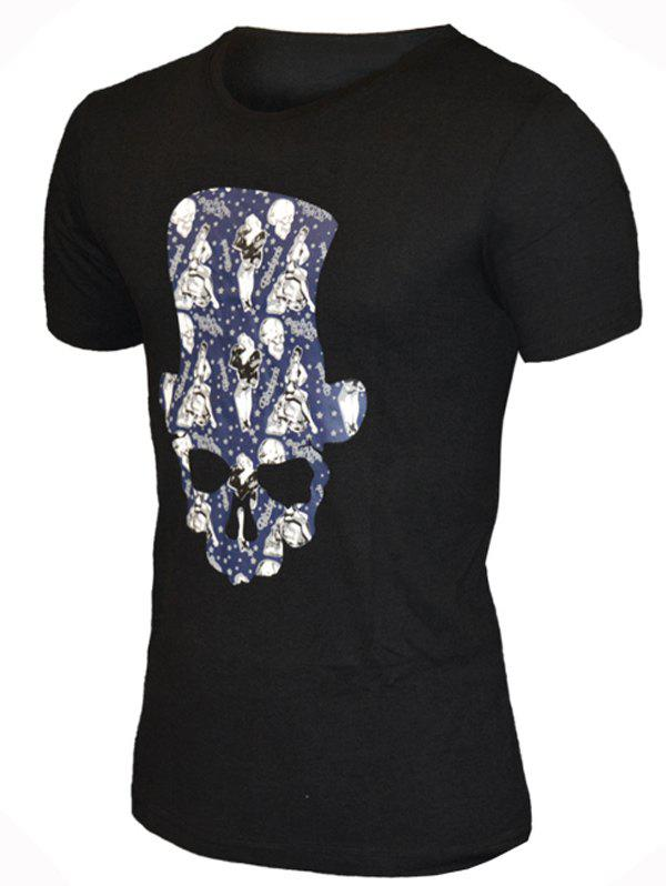 Round Neck Hat Skull Print Pattern Short Sleeve Men's T-Shirt - BLACK L
