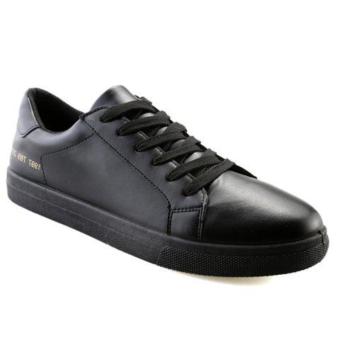 Stylish Figures and PU Leather Design Men's Casual Shoes - BLACK 42