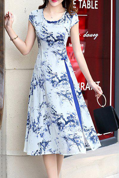 Retro Woman's Ink Painting High Slit Dress and Skirt Twinset - BLUE 2XL