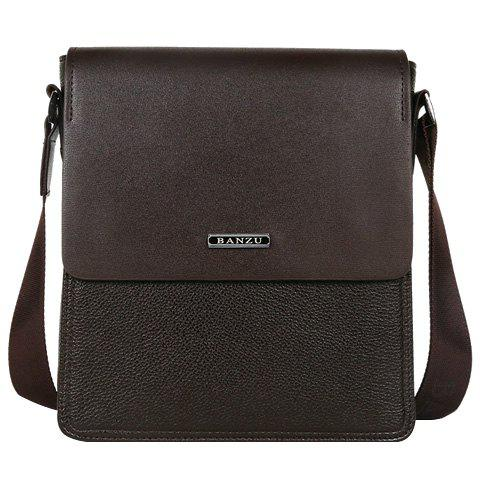 Simple Couleur Dark et Lettre design Men 's  Messenger Bag - Brun