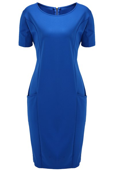Chic Plus Size Round Collar Short Sleeve Solid Color Spliced Dress For Women - BLUE XL