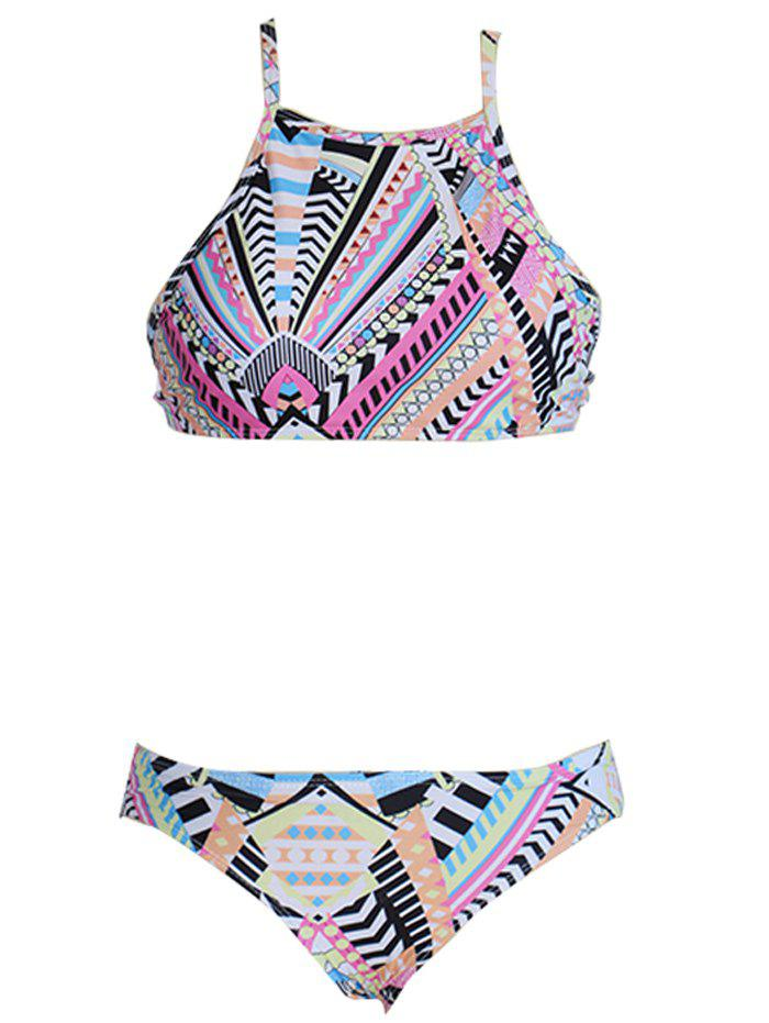 Alluring Women's Colored Geometry Print Spaghetti Strap Bikini Set