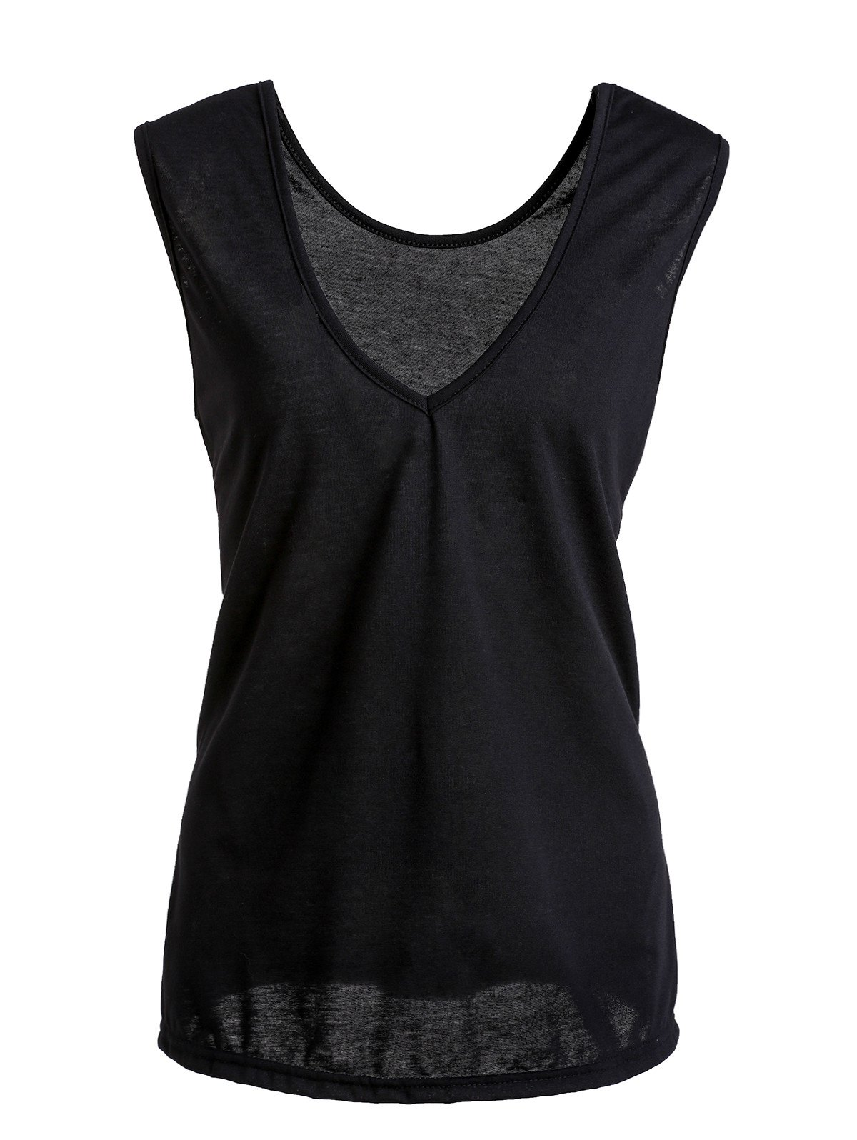 Brief Sleeveless Side Slit Pure Color T-Shirt For Women - BLACK M