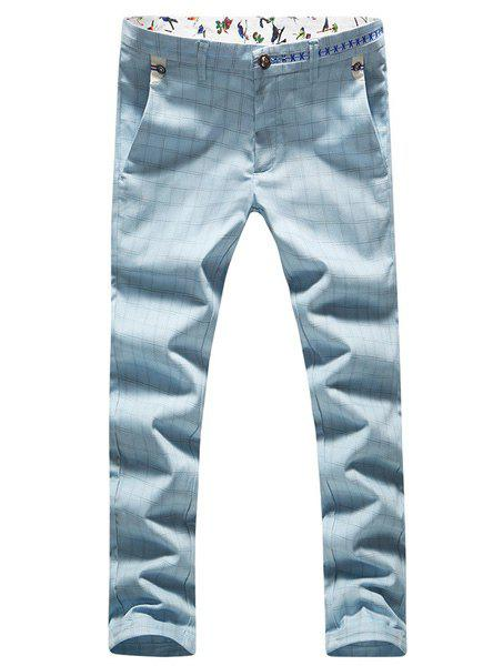 Slimming Plus Size Checked Zipper Fly Narrow Feet Men's Nine Minutes of Pants - AZURE 32