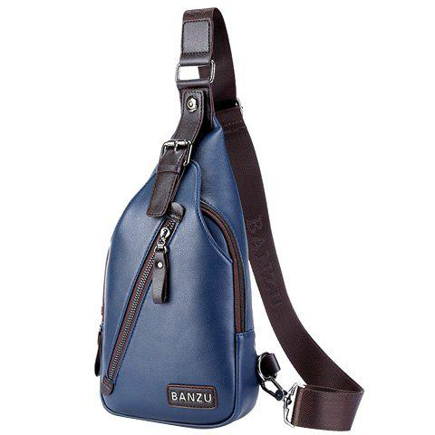 Leisure Zip and Buckle Design Men's Messenger Bag - BLUE