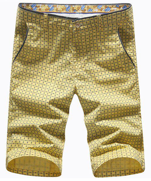 Fashion  Straight Leg Zipper Fly Men's Color Block Plaid Shorts - YELLOW 35