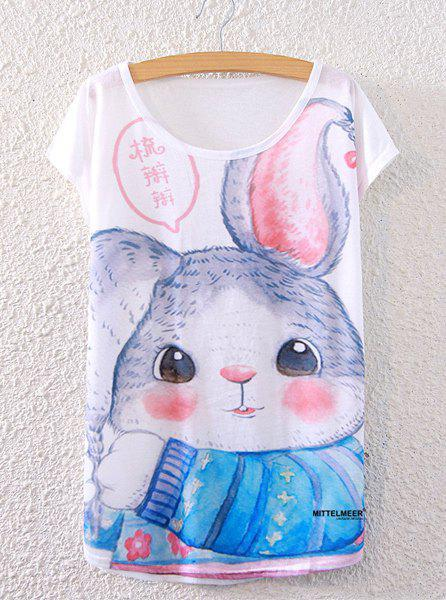 Chic Scoop Neck Loose-Fitting Rabbit Print Women's T-Shirt - WHITE ONE SIZE(FIT SIZE XS TO M)
