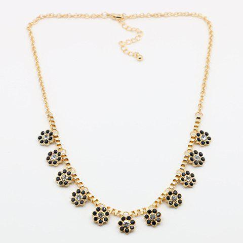 Small Flower Embellished Pendant Necklace - GOLDEN