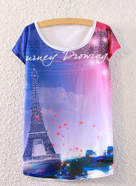 Chic Scoop Neck Loose-Fitting Tower Print Women's T-Shirt