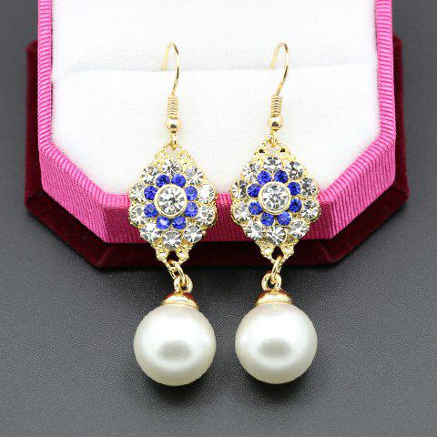 Pair of Chic Rhinestone Faux Pearl Women's Pendant Earrings