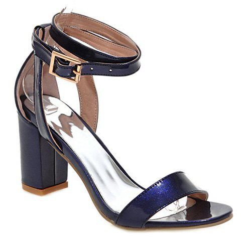 Stylish Solid Color and Chunky Heel Design Women's Sandals - LAKE BLUE 38