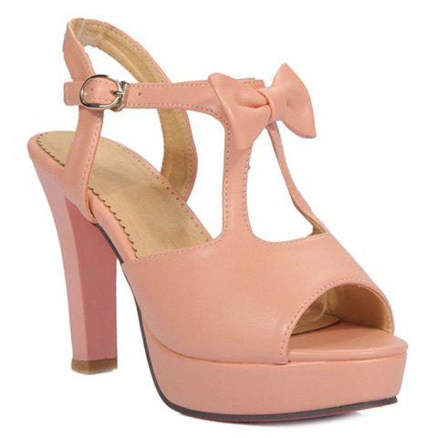 Sweet Solid Color and Bowknot Design Women's Sandals - SHALLOW PINK 39