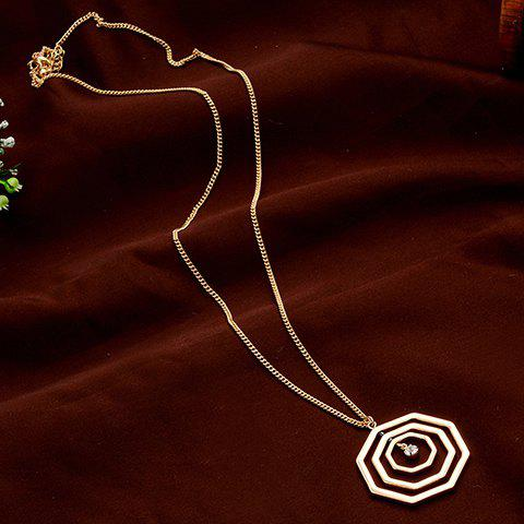 Chic Rhinestone Hollow Out Spider Web Pendant Women's Sweater Chain - GOLDEN