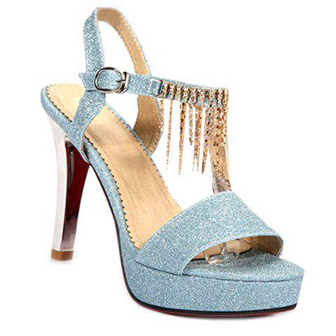 Fashion Sequined Cloth and Chains Design Women's Sandals - LIGHT BLUE 35