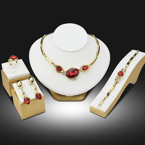 A Suit of Gorgeous Faux Ruby Rhinestone Necklace Bracelet Ring and Earrings For Women