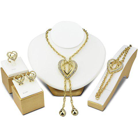 A Suit of Heart Hollow Out Rhinestone Necklace Bracelet Earrings and Ring - GOLDEN