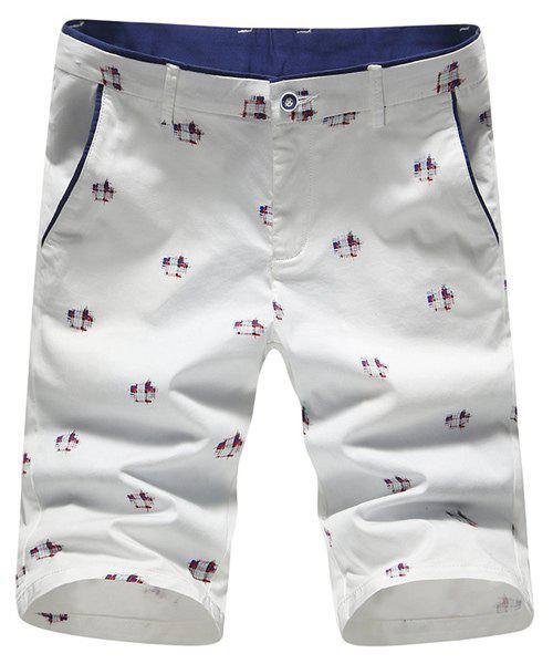 Casual Abstract Print Straight Leg Men's Zipper Fly Shorts - WHITE 34