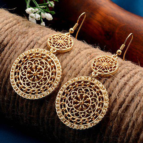Filagree Flower Round Drop Earrings - YELLOW