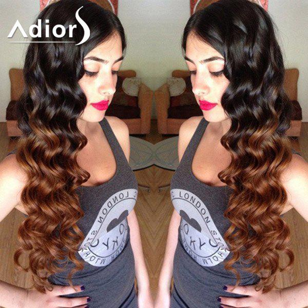 Fluffy Wave Synthetic Attractive Long Black Ombre Brown Capless Adiors Wig For Women - OMBRE