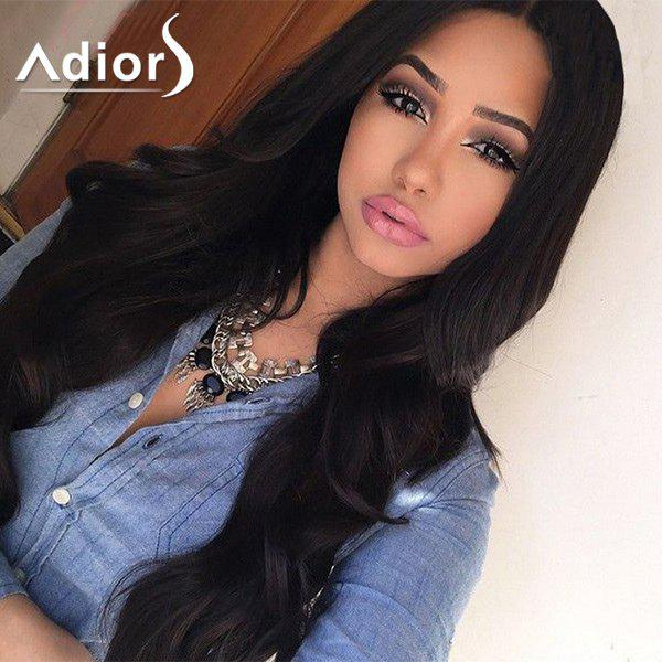 Shaggy Wave Long Synthetic Charming Black Centre Parting Women's Capless Adiors Wig - BLACK