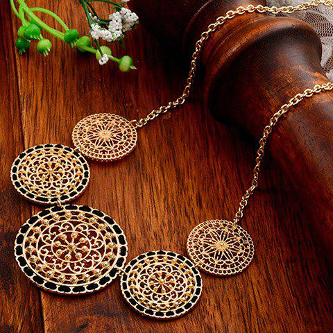 Hollow Out Round and String Embellished Necklace - BLACK