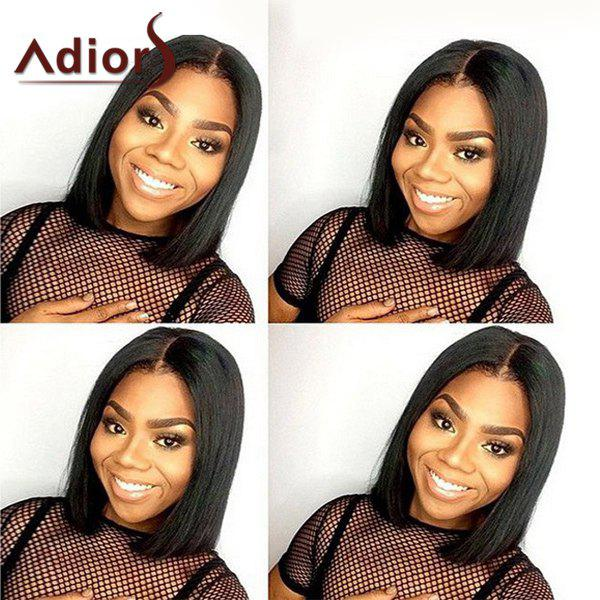 Stylish Silky Straight Short Capless Bob Style Centre Parting Women's Synthetic Adiors Wig - BLACK