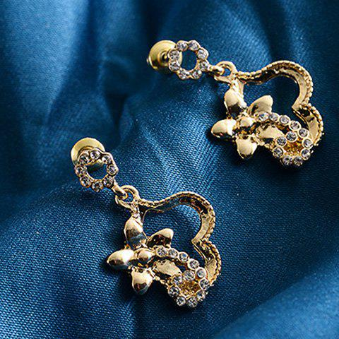 Pair of Chic Flower Rhinestone Hollow Out Women's Earrings
