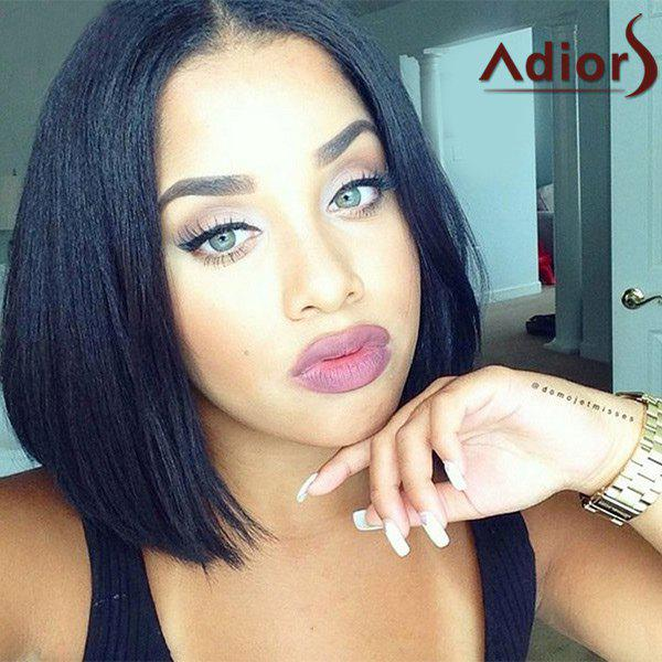 Elegant Straight Centre Parting Capless Bob Style Short Black Women's Synthetic Adiors Wig - BLACK