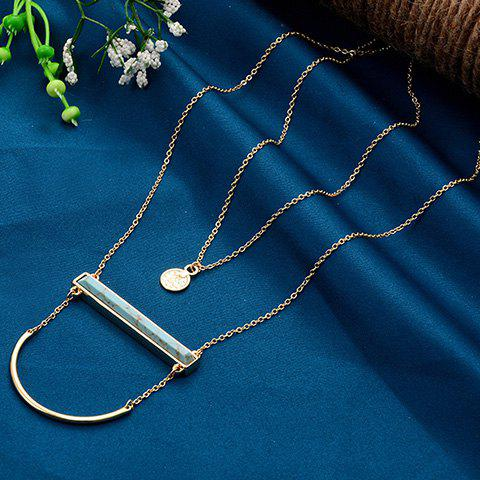 Bicycle Lock and Round Pendant Sweater Chains - TURQUOISE