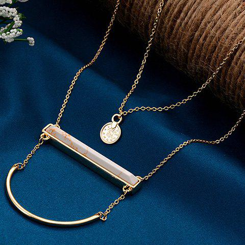 Bicycle Lock and Round Pendant Sweater Chains - WHITE