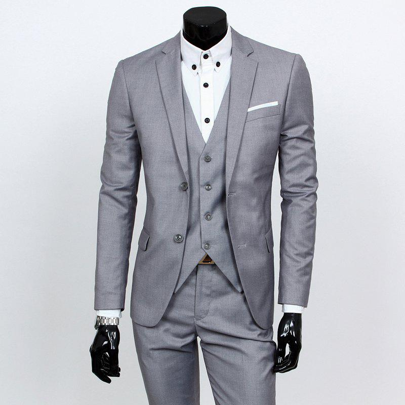 Laconic Lapel Special Breast Pocket Single-Breasted Slim Fit Long Sleeves Men's Blazer Three-Piece Suits(Blazer+Vest+Pants) - LIGHT GRAY L