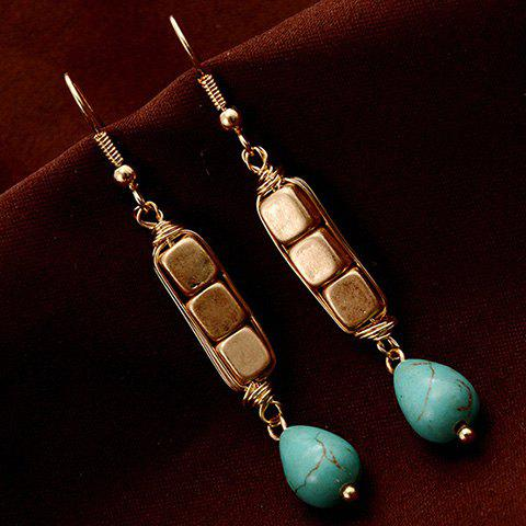 Pair of Chic Cube Shape and Water Drop Pendant Embellished Women's Earrings