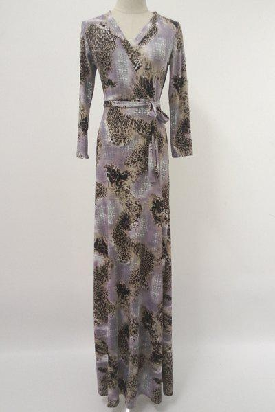 Chic V-Neck Long Sleeve Leopard Printed Belted Maxi Dress For Women - COLORMIX 2XL